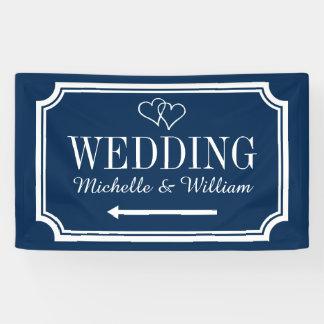 カスタムな結婚披露宴の方向表記の旗 横断幕