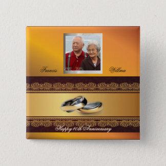 カスタムな結婚記念日の金ゴールド 缶バッジ