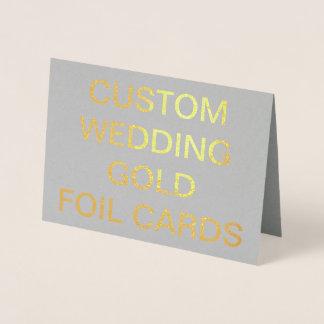 カスタムな結婚7x5名前入りな金ゴールドホイルカード 箔カード