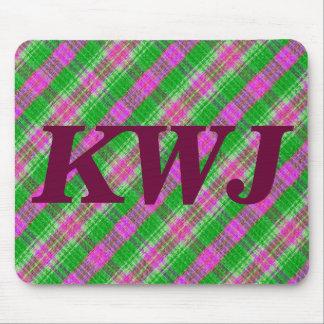 カスタムな緑およびピンクの格子縞のデザインパターン マウスパッド