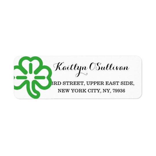 カスタムな緑のシャムロックのクローバーのアイルランド語St patricks day 返信用宛名ラベル
