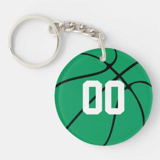 カスタムな緑のバスケットボールのキーホルダー 丸型(両面)アクリル製キーホルダー
