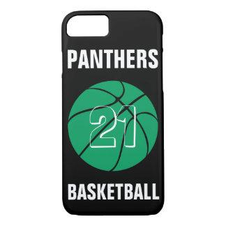 カスタムな緑のバスケットボール数及びチーム電話箱 iPhone 8/7ケース