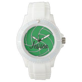 カスタムな緑のバレーボールの腕時計 腕時計
