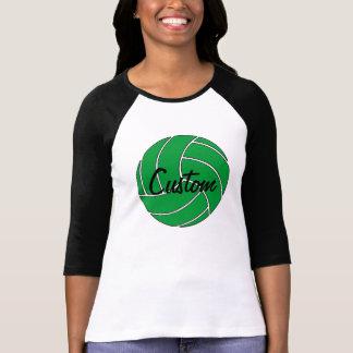 カスタムな緑のバレーボール3/4枚の袖のワイシャツ Tシャツ
