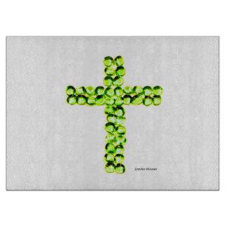 カスタムな緑の宝石の十字のまな板 カッティングボード