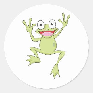 カスタムな緑の跳躍のカエル ラウンドシール