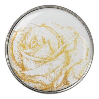 カスタムな背景のヴィンテージのバラの花の模造のな金ゴールド ゴルフボールマーカー