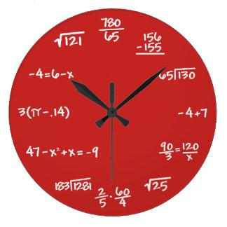 カスタムな背景-数学の黒板の柱時計 ラージ壁時計
