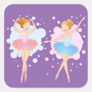カスタムな色のバレエダンサー スクエアシール