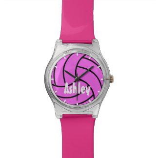 カスタムな色のピンクはバレーボールの腕時計をからかいます 腕時計