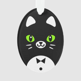 カスタムな色の最小主義の漫画のタキシード猫 オーナメント