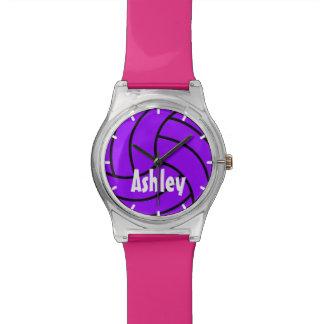 カスタムな色の紫色はバレーボールの腕時計をからかいます 腕時計
