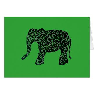 カスタムな色または文字種族象の挨拶状 カード