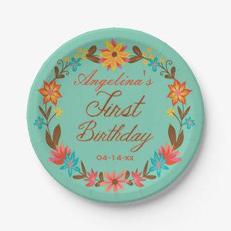 カスタムな花のリースの第1誕生日の紙皿 ペーパープレート