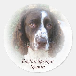 カスタムな英国のスプリンガースパニエル犬のステッカー ラウンドシール