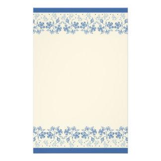 カスタムな藍色の花のボーダー文房具 便箋