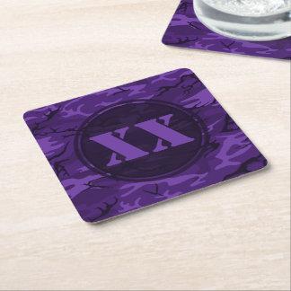 カスタムな記号を用いる暗い紫色のカムフラージュのコースター スクエアペーパーコースター