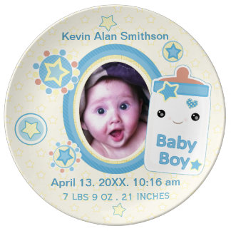 カスタムな誕生の発表の男の子の赤ん坊の磁器皿 磁器プレート