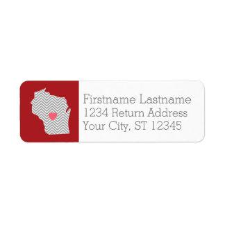 カスタムな赤いハートおよび名前のウィスコンシンの州の地図 ラベル