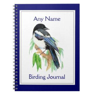 カスタムな野鳥観察ジャーナル水彩画のカササギ ノートブック