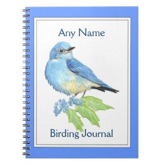 カスタムな野鳥観察ジャーナル水彩画の青の鳥 ノートブック