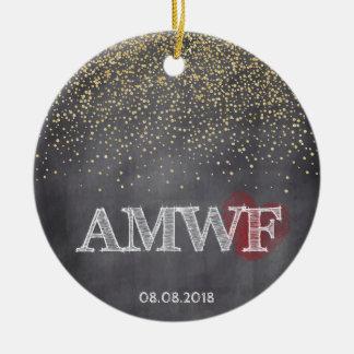 カスタムな金ゴールドの黒板の紙吹雪AMWFのクリスマス セラミックオーナメント