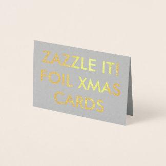 カスタムな金ゴールドホイルのクリスマスカードのブランクのテンプレート 箔カード