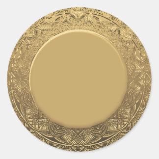カスタムな金ゴールドホイルの一見の背景 ラウンドシール