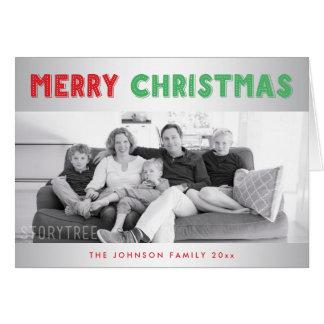 カスタムな銀製のメリークリスマスの挨拶状 カード