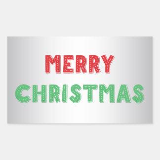 カスタムな銀製のメリークリスマスの長方形のステッカー 長方形シール