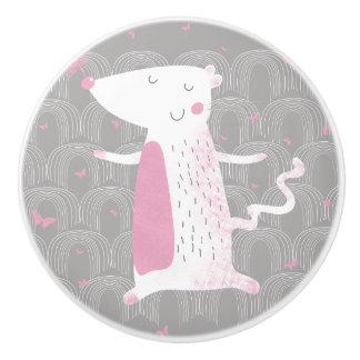 カスタムな陶磁器のノブ、かわいいマウス セラミックノブ