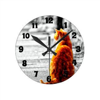 カスタムなA-PALによって染められるオレンジ虎猫猫の絵画 ラウンド壁時計