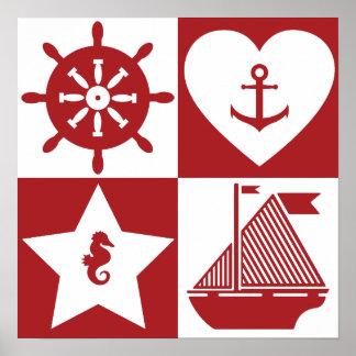 カスタムなbackgroun色の航海のなパターン ポスター