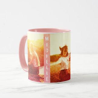カスタムなbohoのシックなverticaの写真および名前 マグカップ