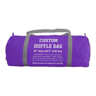 """カスタムなDuffleバッグの紫色の体育館、スポーツクラブ20"""" x 9"""" ジムバッグ"""