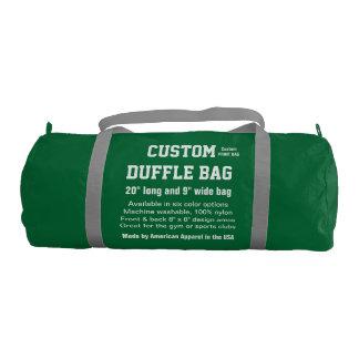 """カスタムなDuffleバッグの緑の体育館、スポーツは、協力させます20""""をx 9"""" ジムバッグ"""