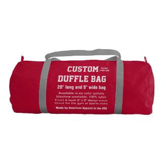 """カスタムなDuffleバッグの赤い体育館、スポーツは、協力させます20""""をx 9"""" ジムバッグ"""