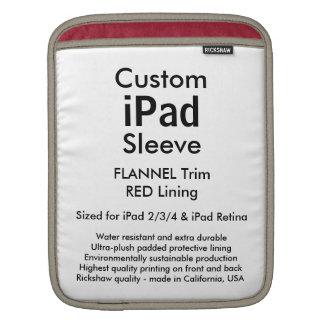カスタムなiPadの袖-垂直(フランネル及び赤) iPadスリーブ