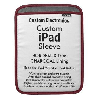 カスタムなiPadの袖-垂直(ボルドー及び灰色) iPadスリーブ