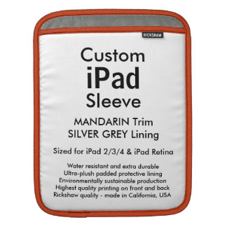 カスタムなiPadの袖-垂直(マンダリン及び銀) iPad 用スリーブ