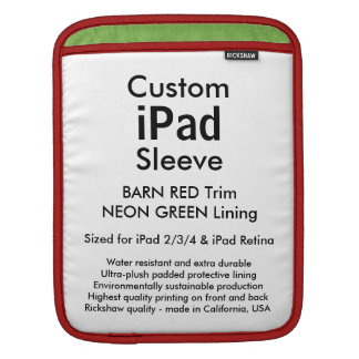 カスタムなiPadの袖-垂直(赤い及び緑納屋) iPadスリーブ