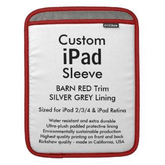 カスタムなiPadの袖-垂直(赤い及び銀製納屋) iPadスリーブ