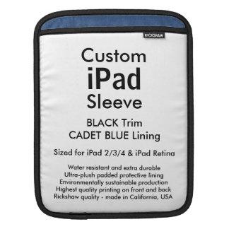 カスタムなiPadの袖-垂直(黒及び士官候補生の青) iPad スリーブ