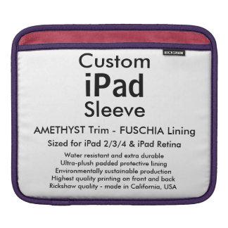 カスタムなiPadの袖-横のアメジスト及び暗い赤紫色 iPad 用スリーブ