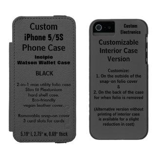 カスタムなiPhone 5/5S Watson™の財布のフォリオの箱の黒 Incipio Watson™ iPhone 5 ウォレット ケース
