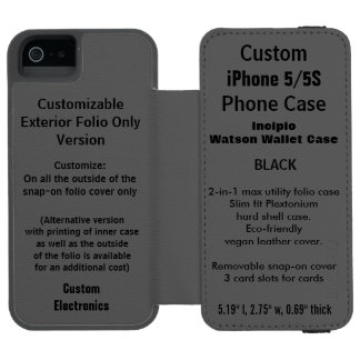 カスタムなiPhone 5/5S Watson™の財布のフォリオの箱の黒 Incipio Watson™ iPhone 5 財布 ケース