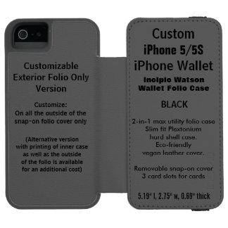 カスタムなiPhone 5/5S Watson™の財布のフォリオの箱の黒 iPhone SE/5/5sウォレットケース