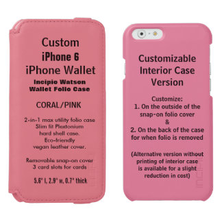カスタムなiPhone 6のWatson™の財布のフォリオの箱のピンク Incipio Watson™ iPhone 6 財布ケース