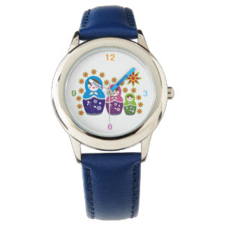 カスタムなMatryoshkaのロシアのな人形及びヒマワリ 腕時計
